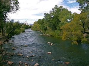 Truckee River at John Champion Park Pedestrian Bridge in Reno