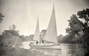 The Nettie, an expedition boat on the Truckee River, western Nevada, in 1867. Photo: Timothy O'Sullivan