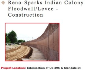 Flood Wall near Walmart constructed on Reno-Sparks Indian Colony Lands in 2009