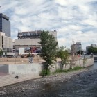 Floodwalls in downtown Reno at Brick Park before the movie theater was constructed