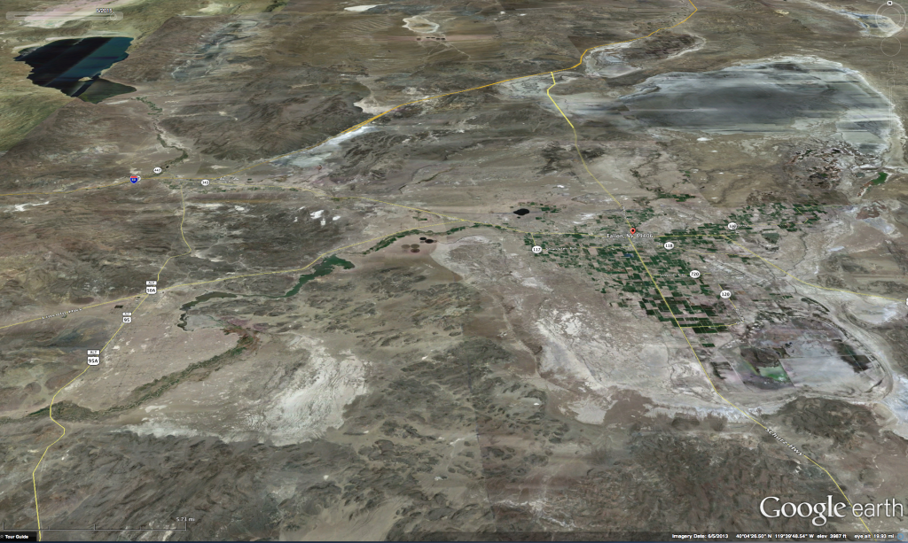 June 2013 Image showing dry conditions in area from Pyramid Lake in the NW to Carson Lake and Pasture in the SE of the image.  Today's image would show significantly drier conditions yet.