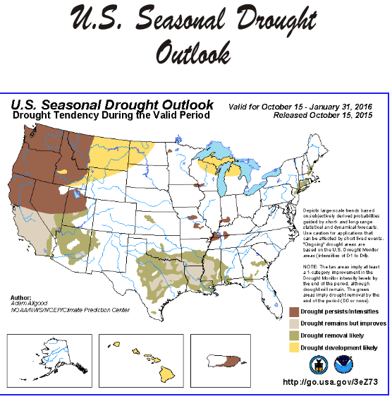 October 2015 through January 2016 drought outlook