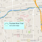 Truckee River Trail winds along the Truckee River from Ivan Sack park in Reno to Vista in Sparks (map ends at McCarran Blvd)
