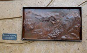 Tutto Ferro art work of Pyramid Lake's Bathymetry.